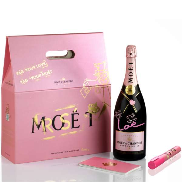 Buy For Home Delivery Moet Chandon Presents Tag Your Love Gift Pack Magnum Size Online,
