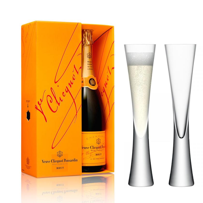 Buy Veuve Clicquot Brut Champagne With LAS Moya Flutes